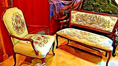 Set Of 2  Antique 1920 Upholstered Armchair And Settee Depicts Of Court Scene 2