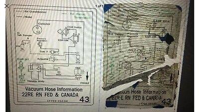1987 Toyota Pickup//4runner Truck Vacuum Hose Diagram Decal Repro Sticker 22R #17