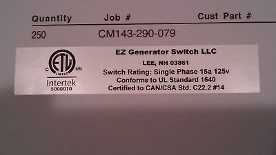 EZ GENERATOR SWITCH - The ONLY switch made to work with all