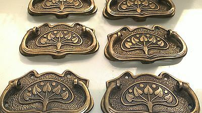6 large DECO cabinet handles solid brass furniture antiques age old style 11cmB 3