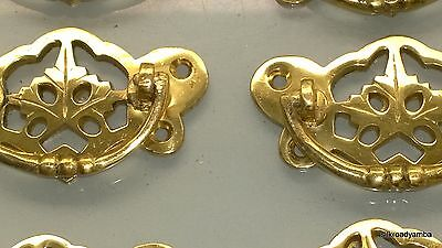6 heavy handles polished pull solid brass heavy old vintage style drawer 72mm 4