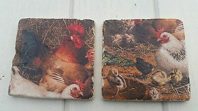 Chicken Country Kitchen Decoupaged Slate Coasters