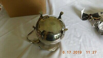 Vintage Leonard silver plate footed water pitcher w/ice lip. 6