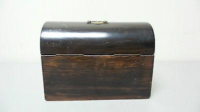 "19th C. ROSEWOOD ""ALMS"" COLLECTION BOX, BRASS TRIM & ORIGINAL KEY, c.1860-80 10"