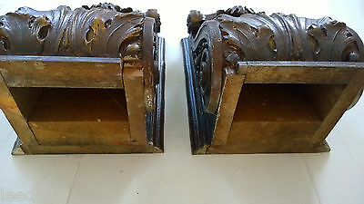 Pair Extraordinary Interior Corbel Layered Oak Leaves Old Architectural Salvage 2