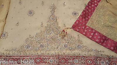 New Womens Cream Gold Maroon Wedding Dress Indian Pakistani Asian Small 11