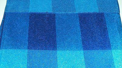 Nigerian Aso Oke Gele (Headtie)- Royal & Turquoise Blue Cubed Pattern 1 Piece 3