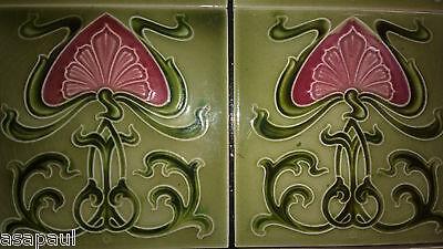 Antique Art Nouveau fireplace tiles (x10) - green with pink flower design. 11