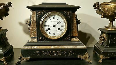 Antique J E Caldwell French Mantel Clock Set w/ Urns Marble Bronze 19th C EXLNT! 3