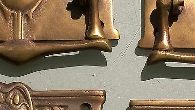 """4 heavy DECO handles door brass furniture antiques vintage age old style 4"""" B 3"""