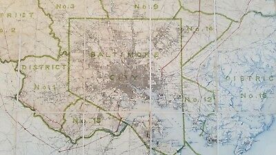 LARGE MARYLAND MAP - BALTIMORE COUNTY Topography & Election Districts - 1925 10