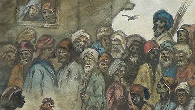 "Luigi Feerazi (Italy) 1876 Original Watercolor Orientalist Painting""cock Fightin 5"