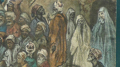 "Luigi Feerazi (Italy) 1876 Original Watercolor Orientalist Painting""cock Fightin 6"