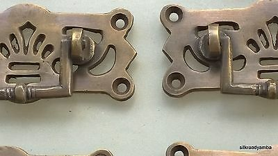 6 small heavy handles aged pull solid brass heavy old vintage style drawer 7cm B 2
