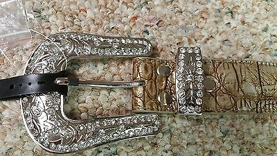Dallas Cowboys  Beige Leather Belt Rhinestone Fancy Style Glitz Bling S M L NFL 2