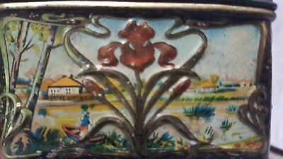 Antique ca. 1910 Russian Popov Brothers Tea Caddy Box hand painted TIN VINTAGE! 6