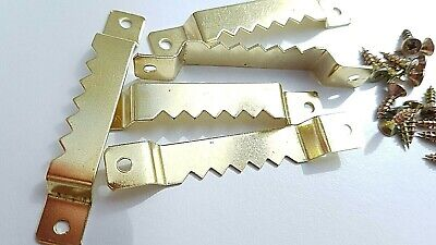 10 Sawtooth Picture Hanger Canvas Frames 63mm Brassed With Screws 3