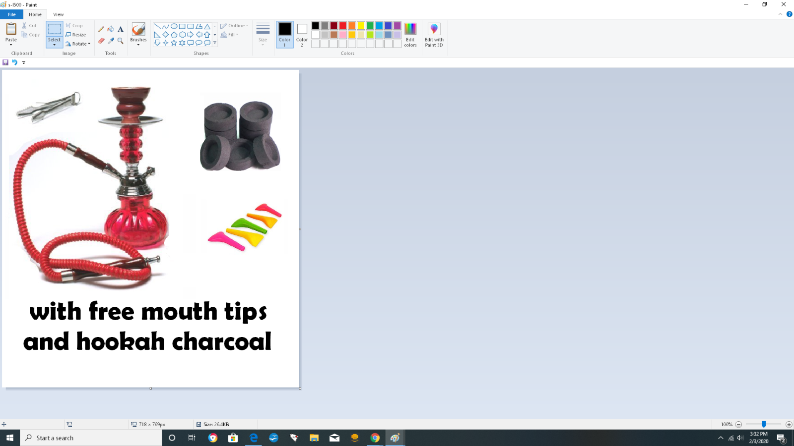 Hookah 1 Hose Decorative Smoking Nargila Glass Water Pipe Set W/ Tips Charcoal 6