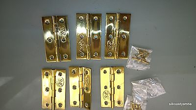 "6 small hinges vintage style polished solid Brass DOOR light restoration 2.1/2"" 3"