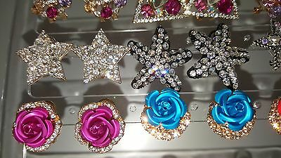 Joblot of 18Pairs Mixed Design Sparkly Diamante stud Earrings-NEW Wholesale lot3 6