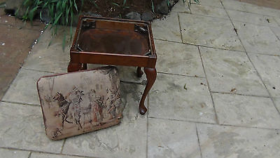 Antique French Ladies Dressing ,sawing Stool Tapestry Needlepointcabriole Legs 7