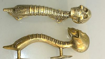 "3 small SKULL head handle DOOR PULL spine natural AGED 100% BRASS old style 8"" B 11"