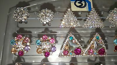 Joblot of 18Pairs Mixed Design Sparkly Diamante stud Earrings-NEW Wholesale lot3 4