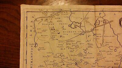 1695 / 1722 Antique Map Huntingtonshire - Robert Morden - Camden's Britannia 4