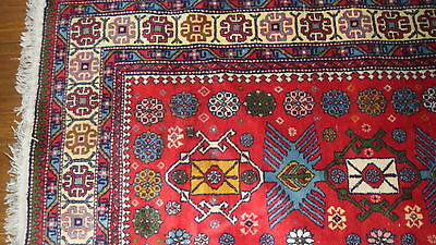 Antique Authentic 100% Wool Hand Made Knotted Vintage Kazak Rug 3