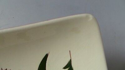 """STANGL THISTLE 11"""" Trapezoid Relish Tray Dish Vtg Mid-Century Pink Green PRETTY! 8"""