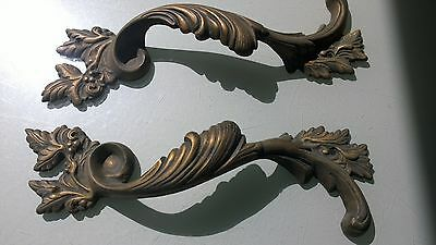 """2 Large handle DOOR PULLS solid BRASS old vintage antique style 11 """" heavy B 4"""