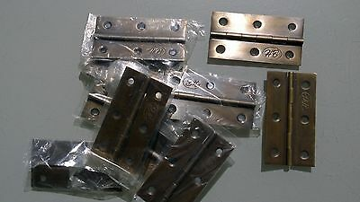 "10 small hinges vintage aged style solid Brass DOOR light restoration 3"" screwsB 2"