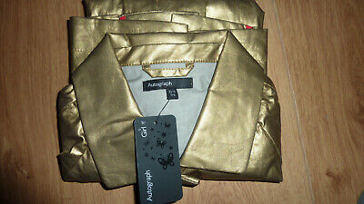 Marks & Spencer Autograph M&S Metallic Gold Raincoat Coat Mac Age 10 - 11 Bnwt 3