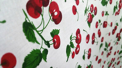 "RED CHERRIES PRINT ON WHITE POLY COTTON FABRIC 60/"" By the Yard Cherry Toss"