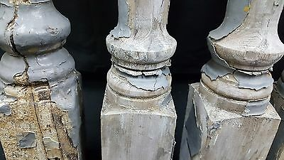 Architectural Salvage 4 Wooden Spindles Balusters 4 Collar Design 3