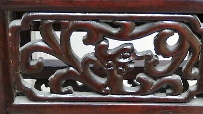 Antique Chinese Rosewood Handcarved Pierced Dragon Step Tansu Plant Stand #2 7