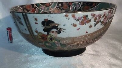 A Vintage Handpainted , Gilded & Decorated , Satsuma , Japanese Porcelain Bowl 3