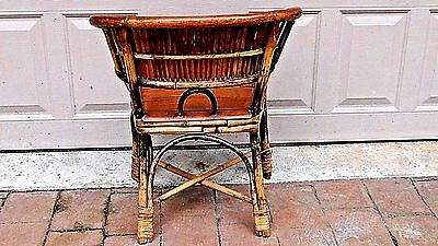 ANTIQUE 19c CHINESE BAMBOO RATTAN CHILD ARM CHAIR 8