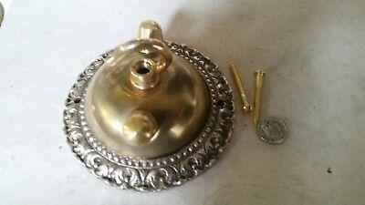 Large dome CEILING ROSE 108mm chandelier hook VINTAGE c1950s cast brass OLD 9