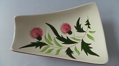 """STANGL THISTLE 11"""" Trapezoid Relish Tray Dish Vtg Mid-Century Pink Green PRETTY! 4"""