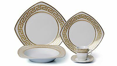7a1758b58987 ... Euro Porcelain 20-pc White Dinnerware Set Service for 4, Gold-plated  Greek