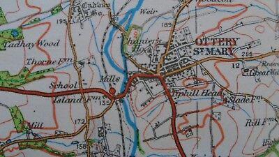 "Ordnance Survey map 1"" Lyme Regis Sidmouth 1932 Bridport Axminster Ottery Beer 6"