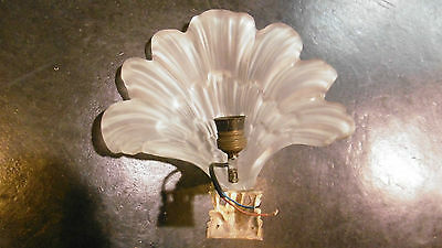 Antique French glass leaf and bronze sconce 5