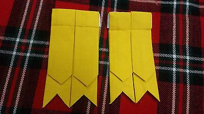 TC New Men's Kilt Sock Flashes Yellow Tartan/Scottish Kilt Hose Flashes Yellow