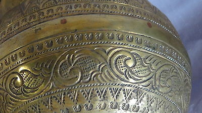 ANTIQUE 19c ARABIC ISLAMIC BRASS INGRAVED RELIEF ORNAMENT VESSEL,POR WITH CHAIN 6