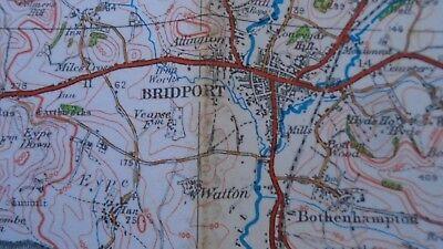 "Ordnance Survey map 1"" Lyme Regis Sidmouth 1932 Bridport Axminster Ottery Beer 3"
