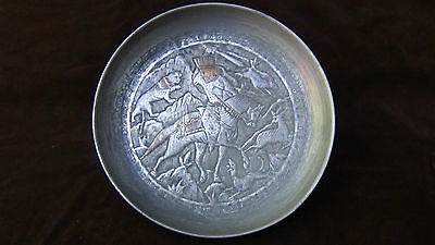 Antique 18C  Islamic Relief Bowl Depicts Persian Sultan Fighting With The Lion 2
