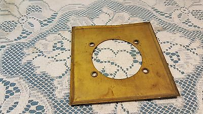 "Vintage Harvey Hubbell 4 1/2"" Brass Wall Plate 2 3/8"" hole 3"