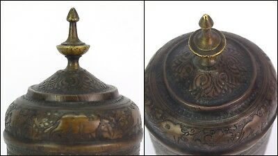 Real Mughal Rare Old Unique Shape Hand Crafted Animal Figures Brass Pot G3-52 US 8