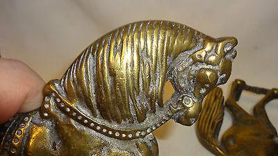 6 Of 8 Attractive Pair Of Antique Brass Horse Door Stops / Fireside  Ornaments